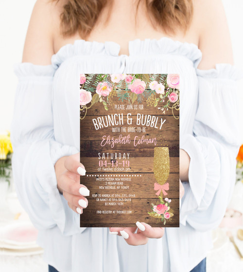 Rustic brunch and bubbly shower invitation, rustic bridal invite, country bridal shower invitation, bridal brunch invitation rustic wood bridal shower invitation