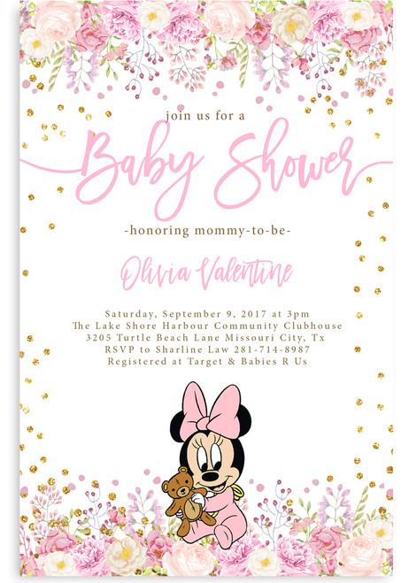 Minnie mouse baby shower invitation,Minnie mouse baby shower invitation, pink and gray invitation, pink minnie mouse shower invitation, cheap baby shower invitation, cute baby shower invitation, pink grey baby shower invitation, its a girl, girl baby shower invitation, cheap minnie baby shower invitation, dream paperie printables, baby shower invitation, pink girl baby shower invitation, cheap and cute, cheap invitations, dream paperie cheap invitations,