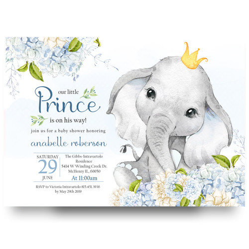 Elephant little prince, baby shower invitation, elephant royal baby shower invitation,royal blue, glitter crown, gold, glitter gold, little prince, prince, royal prince,