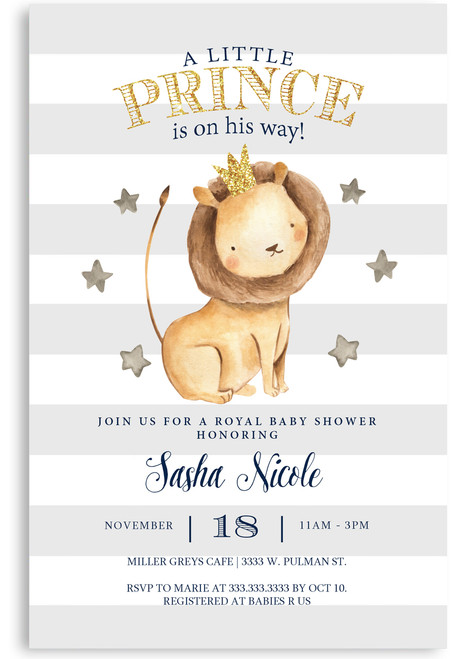Prince baby shower invitation, king of the jungle baby shower invitation, royal baby shower invitation, royal prince baby shower invitation, cheap baby shower invitation,