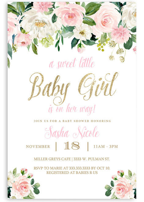 Girl baby shower invitation, pink flower baby shower invitation, girl baby, watercolor flowers, baby shower invitation, cheap baby shower invitation