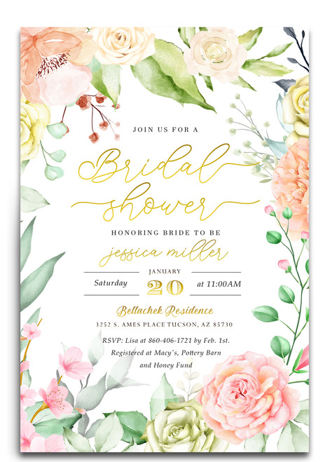 Flower bridal shower invitation, Watercolor bridal shower invitation, printed invitation,bridal shower invite, floral bridal shower, flowers, watercolors, watercolor flowers, bridal, shower, invitation