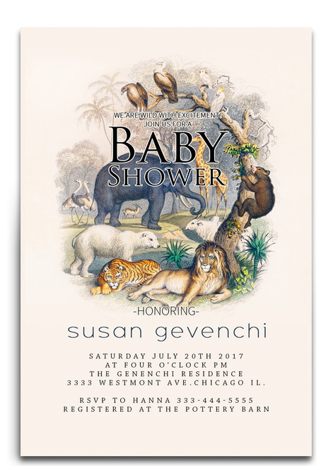 jungle baby shower invitation, zoo baby shower invitation, jungle animals, giraffe , elephant, zebra, safari jungle baby shower, forest baby shower invitation, tropical animals, baby shower