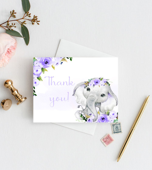Elephant baby shower invitation, lavender floral elephant #35l