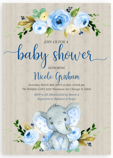 Blue elephant baby shower invitation, boy baby shower invitation, blue baby shower invitation, elephant baby shower invitation, blue flower baby shower invitation, elephant baby invitation
