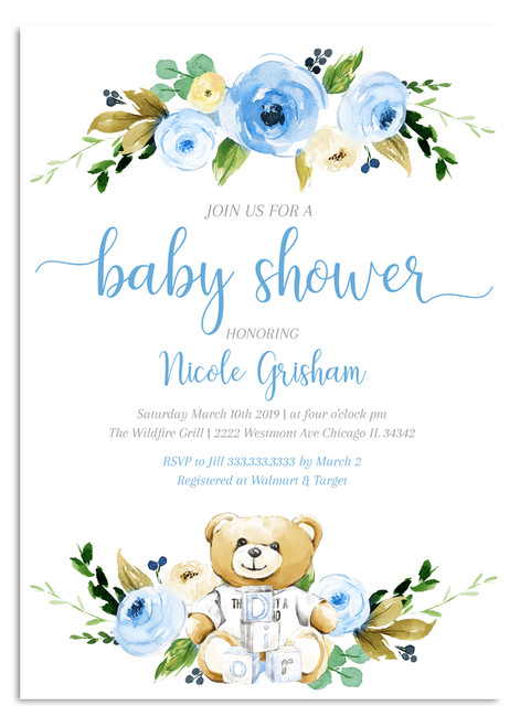 Blue boy baby shower invitation, teddy bear baby shower invitation, blue teddy bear baby shower invitation, blue flower baby shower invitation, boy baby shower, invitation, teddy bear baby,  shower invite