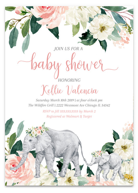 Elephant baby shower invitation, elephant baby shower, elephant invitation, baby shower invitation, elephant pink baby shower invitation, pink flowers invitation, girl baby shower invitation, pink girl baby shower invitation