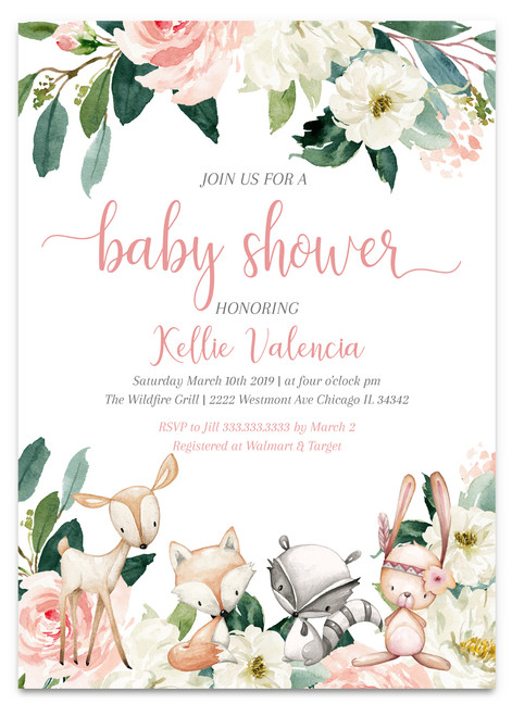 woodland baby shower,woodland shower,baby shower,invitation,girl baby shower ,woodland girl, girl shower, instant download,baby shower invitation