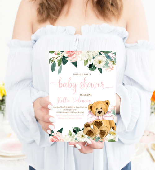 teddy bear baby shower invitation, teddy bear girl baby shower, invitation, baby shower invite, girl teddy bear, pink bow baby shower, bear baby shower, pink flower invitation