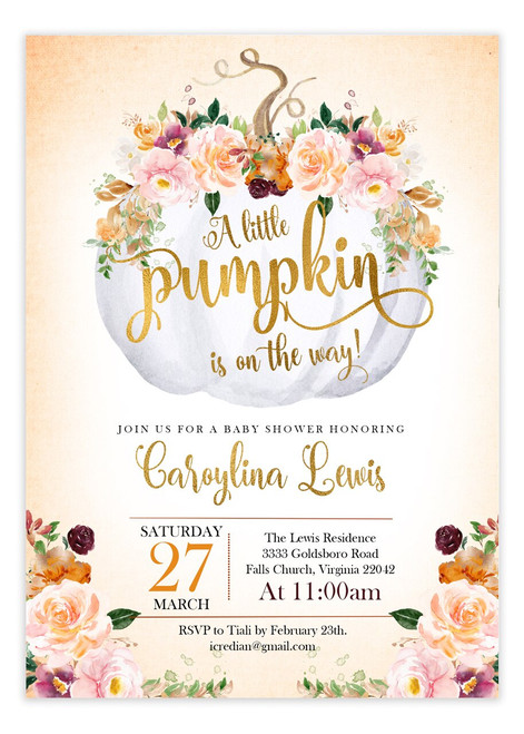Fall Pink Pumpkin Baby Shower Invitation, Fall Baby Shower