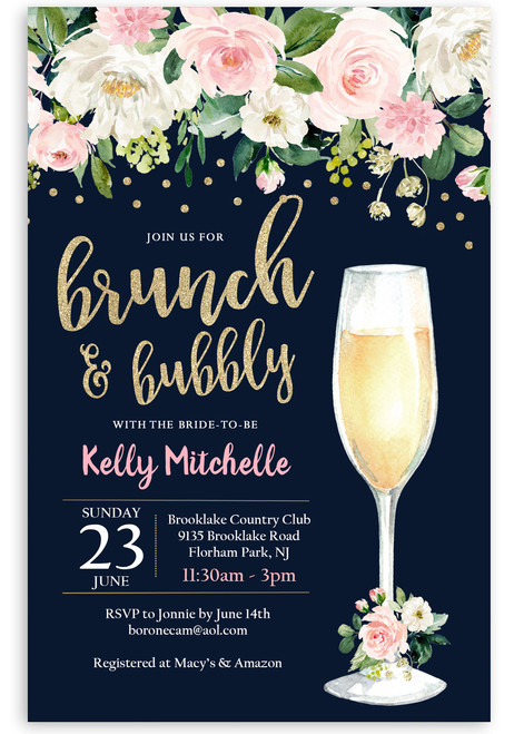 floral brunch and bubbly invitation,navy blue flowers, glitter champagne glass, brunch and flowers,boho bridal shower, floral, cheap bridal shower invitation, modern bridal shower, cute bridal shower invitation, retro bridal shower invitation, elegant, affordable bridal shower invitation,wedding invitation,occasion, cute, bachelorette party, bride, whimsical,printed, dream paperie, formal invitations, dinner invitation,custom invitation, card stock, samples, wed, bridal shower thank you cards