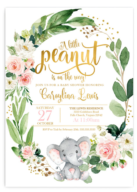 Elephant baby shower invitation,Elephant with flowers, elephant, pink elephant, vintage elephant,baby shower invitation,cheap baby shower invitation, its a girl, cute baby shower invitation, pink elephant baby shower invitation, Cheap baby shower invitation