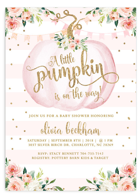 Pumpkin baby shower invitation, fall baby shower invitation, pink pumpkin baby shower, pumpkin on the way, baby shower invitation, girl baby shower invitation, fall baby shower, fall invitation, vintage baby shower invitation, autumn baby shower, cheap baby shower invitation, white pumpkin baby shower, little pumpkin baby shower invitation, fall baby shower invite, flower baby shower invitation, watercolor baby shower invitation