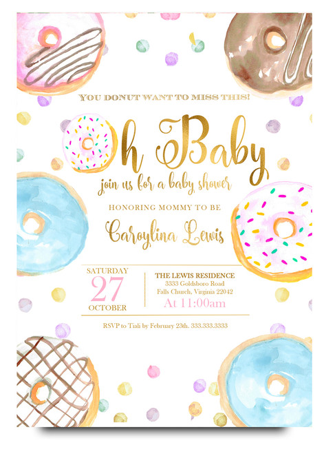donut baby shower, donut baby shower invitation, donut party, baby shower invitation, girl baby shower invitation, pink baby shower donut party, donut, watercolor donut invitation, donut celebration, girl donut baby shower,cheap baby shower invitation