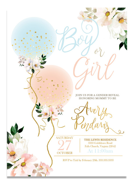 Gender reveal baby shower invitation, balloon baby Invitation, gender reveal shower, girl or boy baby shower invitation, pink or blue baby shower invitation, gender, reveal, baby shower