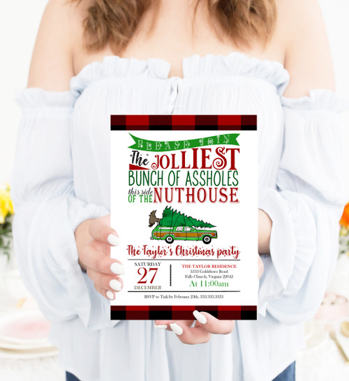 Christmas party invitation, Christmas vacation invitation, clark griswold, national lampoon, holiday party invitation, jolliest bunch of, nuthouse, christmas party invitation, holiday, Christmas invite, invitation
