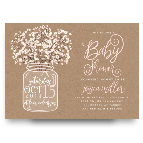 Mason jar baby shower invitation, mason jar baby shower, burlap baby shower invitation, rustic baby shower invitation, cheap baby shower invitation, flower baby shower invitation