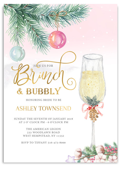 Holiday brunch bridal shower invitation, Brunch and bubbly bridal shower invitation, Christmas bridal shower invitation, winter brunch bridal shower, brunch bridal shower, bridal shower invite, brunch shower,