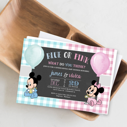 gender reveal baby shower, gender reveal, minnie and mickey, baby shower, boy or girl invitation, pink or blue, gender baby shower, gender balloon, minnie mouse, mickey mouse invitation, minnie mouse invitation, gender reveal party, gender reveal invite