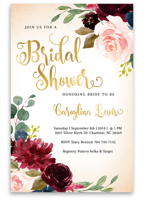 Flower bridal shower invitation, Watercolor bridal shower invitation, printed invitation,bridal shower invite, floral bridal shower, flowers, watercolors, watercolor flowers, bridal, shower, invitation, floral bridal shower invitation, vintage bridal shower invitation, gold bridal shower invitation