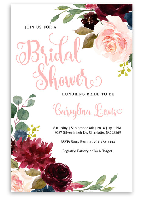 Flower bridal shower invitation, Watercolor bridal shower invitation, pink invitation,bridal shower invite, floral bridal shower, flowers, watercolors, watercolor flowers, bridal, shower, invitation, floral bridal shower invitation, vintage bridal shower invitation, pink bridal shower invitation