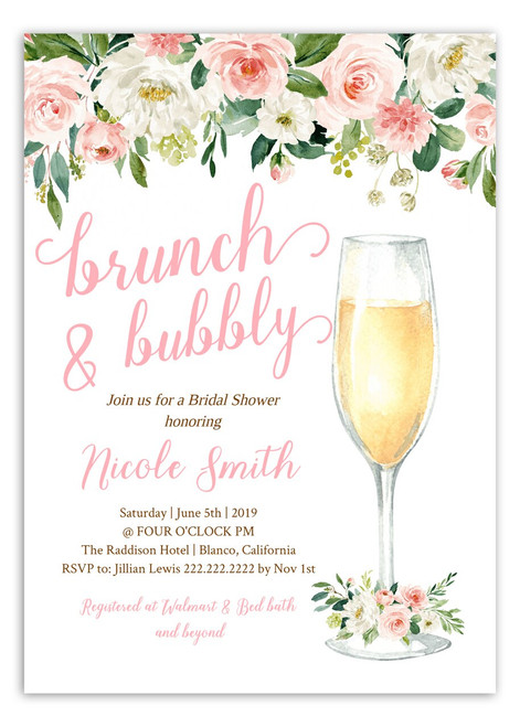 bridal brunch and bubbly invitation,brunch & bubbly bridal shower invitations,Brunch and bubbly, bridal shower invitation, brunch, bubbly, bridal invitation, shower invitation, brunch