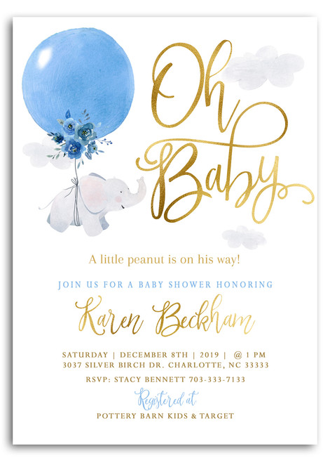 Elephant, Boy elephant baby shower invitation, boy baby shower, blue baby shower invitation, floral elephant baby shower invitation, blue baby shower, blue balloon, elephant balloon baby shower, up up away, oh baby, boy shower invitation, baby shower, elephant baby, elephant, printed baby shower invite, boy baby invitation, cheap baby shower invitation, cheap invitation
