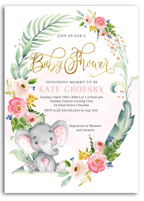 Elephant baby shower invitation,Elephant with flowers, elephant, pink elephant, vintage elephant,baby shower invitation,cheap baby shower invitation, its a girl, cute baby shower invitation, elephant baby shower, elephant pink girl, girl elephant shower