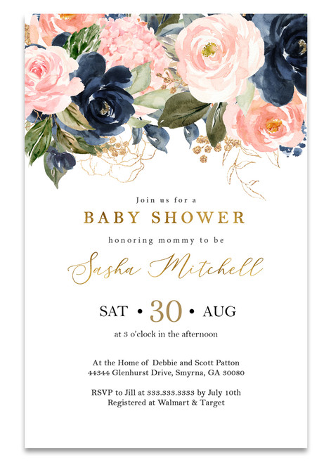 Floral baby shower invitation, Elegant baby shower invite, watercolor baby shower invite, baby shower invites, baby shower invitation,Navy Blush Rose Gold, Baby Shower Invitation