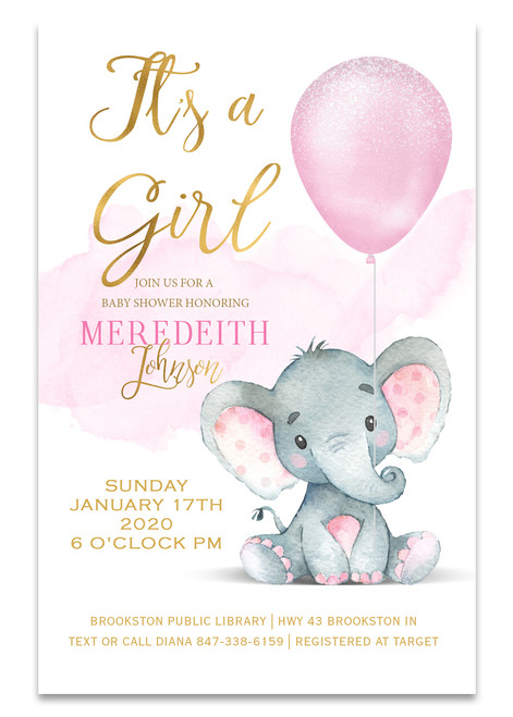 Elephant baby shower invitation,Elephant  balloon, elephant, pink elephant, vintage elephant,baby shower invitation,cheap baby shower invitation, its a girl, cute baby shower invitation, pink elephant baby shower invitation, Cheap baby shower invitation