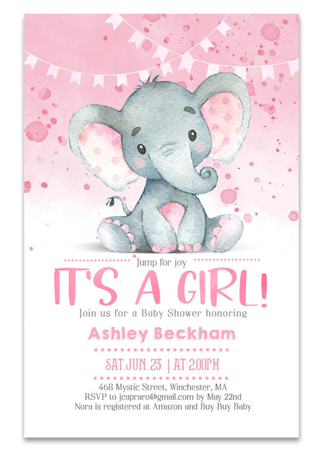 Elephant baby shower invitation,Elephant pink girl, elephant, pink elephant, vintage elephant,baby shower invitation,cheap baby shower invitation, its a girl, cute baby shower invitation, pink elephant baby shower invitation, Cheap baby shower invitation