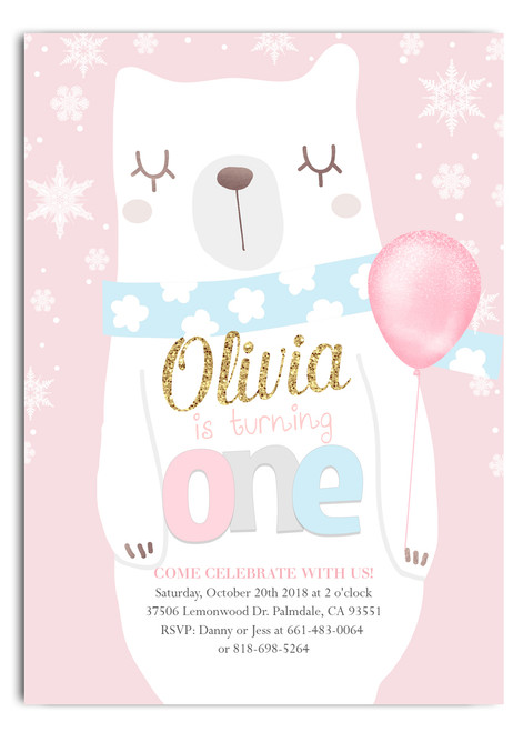 Winter bear birthday invitation, winter birthday invitation, girl first birthday invitation, snowflake birthday invitation, bear birthday, winter bear, girl birthday invitation, winter girl birthday, snowflake invite, snow birthday, polar bear, polar bear birthday invitation, first birthday invitation