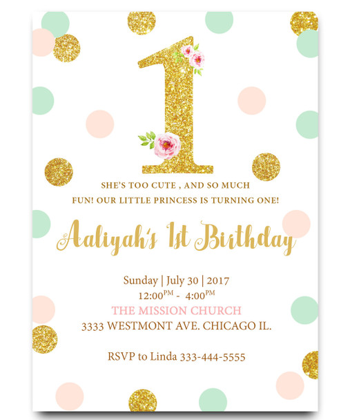 First Birthday Invitation Glitter Pink And Gold
