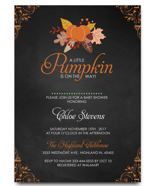 Fall baby showe invitation, floral baby shower invitation
