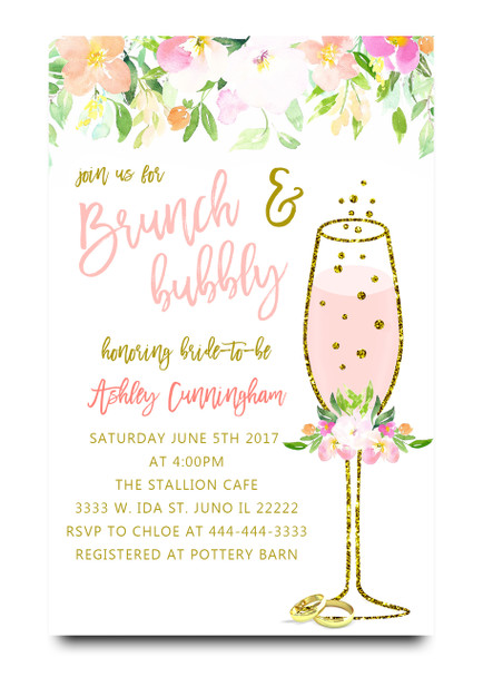 Brunch and bubbly, bridal shower invitation, brunch, bubbly, bridal invitation, shower invitation, brunch