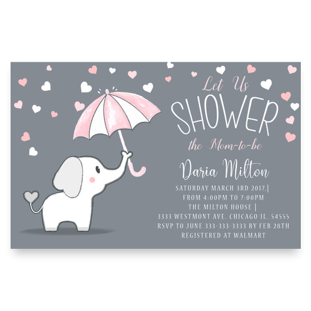 Elephant hold umbrella baby shower invitation, cute elephant baby shower , little peanut, lil white elephant, umbrella, raining, chalkboard baby shower invitation