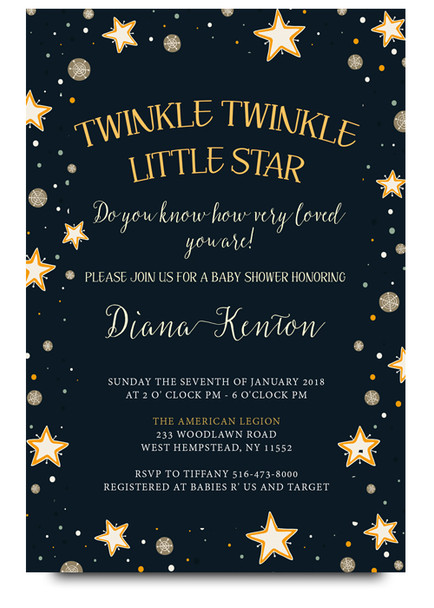 twinkle little star, baby shower invitation, twinkle baby shower, baby shower, invite, twinkle baby, little star baby shower