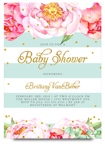 Floral baby shower invitation, Elegant baby shower invite, watercolor baby shower invite, baby shower invites, baby shower invitation