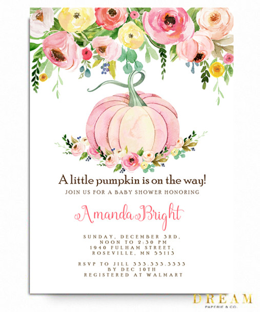 pink flower ,fall baby  shower, pumpkin, watercolor pumpkin, fall baby, baby shower invitation, baby girl shower