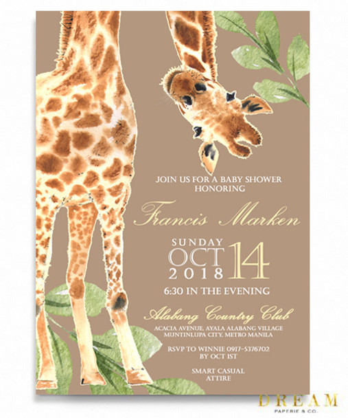 Jungle baby shower, zoo baby shower invitation