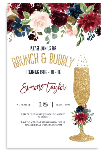 floral brunch and bubbly invitation,burgundy and gold flowers, glitter champagne glass, brunch and flowers,boho bridal shower, floral, cheap bridal shower invitation, modern bridal shower, cute bridal shower invitation, retro bridal shower invitation, elegant, affordable bridal shower invitation,wedding invitation,occasion, cute,bachelorette party, bride, whimsical,printed, dream paperie, formal invitations, dinner invitation,custom invitation, card stock, samples, wed, bridal shower thank you cards