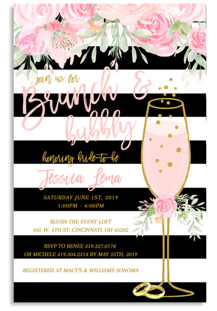 Brunch and bubbly, bridal shower invitation, brunch, bubbly, bridal invitation, shower invitation,