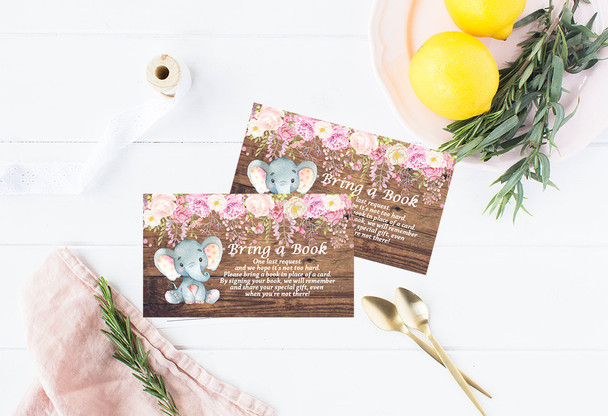 Book Request card, Elephant baby shower invitation,Elephant with flowers, elephant, pink elephant, vintage elephant,baby shower invitation,cheap baby shower invitation, its a girl, cute baby shower invitation