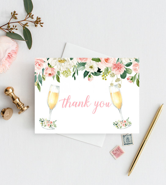 THANK YOU CARDS Brunch and bubbly bridal shower invitation, bubbly bridal invite, bridal shower brunch, bubbly,  brunch and bubbly invitation brunch shower invitation
