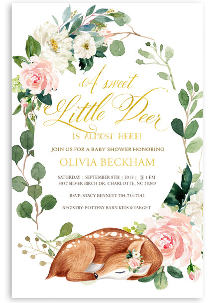 Oh deer baby shower invitation, Flower baby shower invitation,Woodland baby shower invitation, woodland animal baby shower invitation, deer baby shower invitation, beer baby shower invitation, forest animal baby shower invitation, woodland forest animal, fall baby shower invitation