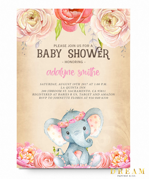 Elephant Baby Shower Invitation Pink Floral Elephant Vintage Pink