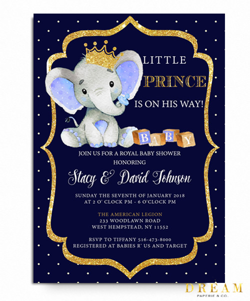 Little Prince Elephant Baby Shower Invitation Royal Baby