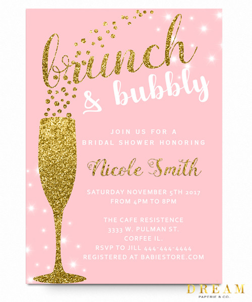 d1c91295b43f Brunch and bubbly bridal shower invitation