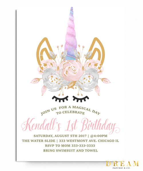Unicorn Birthdayinvitation Magical Birthdayrainbows Clouds Glitter Gold Stars