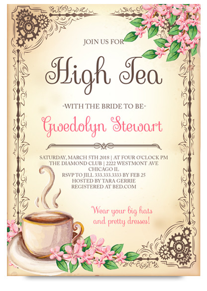 high tea bridal tea party invitation tea bridal shower